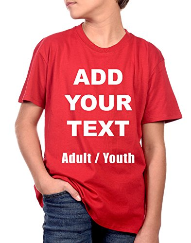 Custom T Shirts Ultra Soft Add Your Own Text Message Unisex Cotton T Shirt [Youth/Red/L]