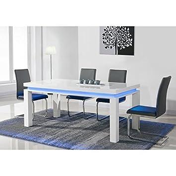Generique Flash Table A Manger Avec Led Bleue 6 Personnes 160x90 Cm Laque Blanc Brillant