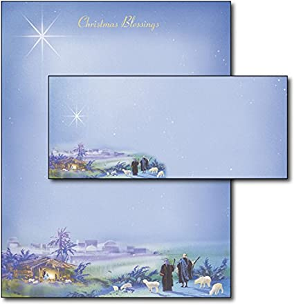 40 Sets Nativity Christmas Holiday Letterhead Paper with Matching Envelopes