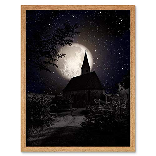 Wee Blue Coo Surrealism Landscape Moon Church Spooky Halloween Art Print Framed Poster Wall Decor 12x16 inch -