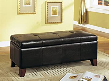 Storage Bench With Wooden Legs Brown Bycast Leather