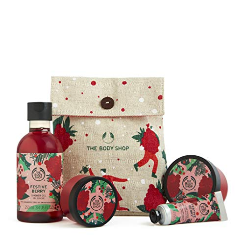 The Body Shop Festive Berry- 4pc Holiday Gift Set, With Fruity Body Care Treats