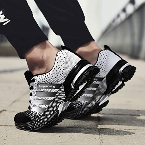 Mesh Shoes Running Basketball Breathable amp;white Active Max Women's Sneakers Black Men's SEVENWELL Flyknit Air Sport qAB00F