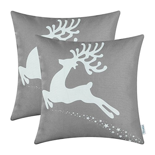CaliTime Pillow Christmas Holiday Reindeer