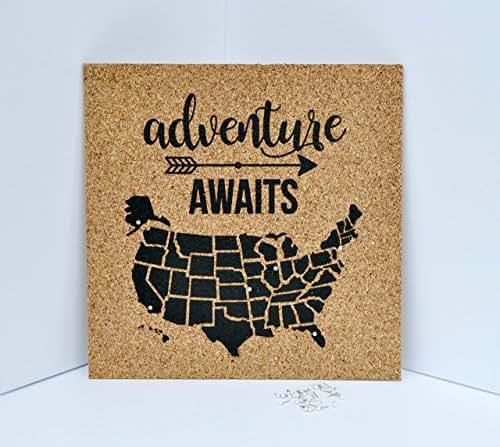 Amazon Com Adventure Awaits Push Pin Cork Travel Map Of