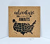 united states cork map - Adventure Awaits Push Pin Cork Travel Map of the United States / Wanderlust Travel Gift / USA Bulletin Board / US Corkboard