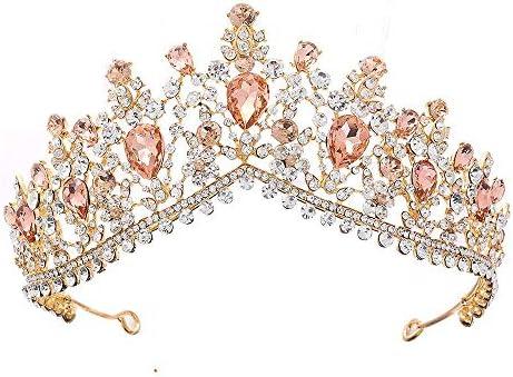 S-TING 王冠 クラウンヘアアクセサリー花嫁プリンセスレトロな女性モデルのゴールデンラインストーンの宝石用原石のシャンパンヘアクリップシンプルなノーブル繊細なウェディングゴージャス聖 髪飾り