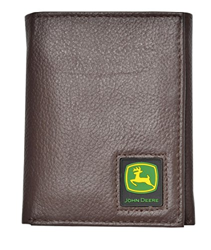 John Deere Men's Tri-Fold Wallet,Brown,One Size
