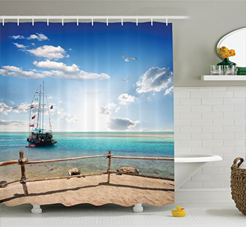 Ambesonne Sailboat Nautical Decor Collection  Birds Over Sailboat Near Sandy Beach Fence Adventure Sunset Summertime Image  Polyester Fabric Bathroom Shower Curtain  75 Inches Long  Ivory Blue