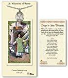 Pewter St. Saint Valentine of Rome medal on an 24in Stainless Silver Heavy Curb Chain with a Prayer to St Valentine Prayer Card Medal Pendant Necklace.