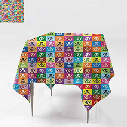 - Washable Square Tablecloth,Skull,Skull and Crossed Pirate Flags Jolly Roger Inspired Pattern Colorful Design Print,Party Decorations Table Cover Cloth,70x70 Inch Multicolor
