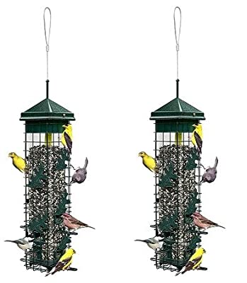 "Brome Squirrel Solution200 5.5""x5.5""x30"" (w/hanger) Wild Bird Feeder with 6 Feeding Ports, 3.4lb Seed Capacity, Free Seed Funnel"