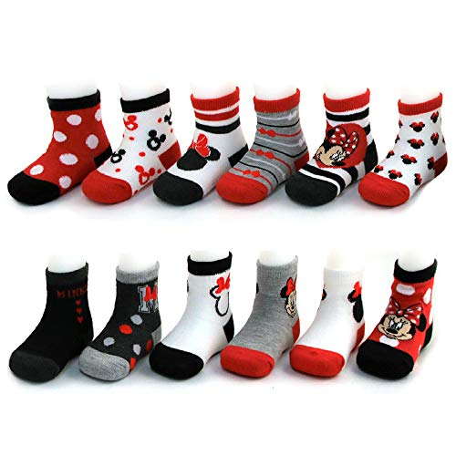 - Disney Baby Girls Assorted Minnie Mouse Designs 12 Pair Socks Variety Set, Age 0-24 Months (0-6 Months, Black-Red-White Collection)