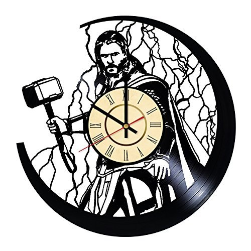- Fun Door The Thor Marvel Comics Handmade Vinyl Record Wall Clock - Get Unique Living Room Wall Decor - Gift Ideas for Boys and Girls Movie Characters Unique Modern Art