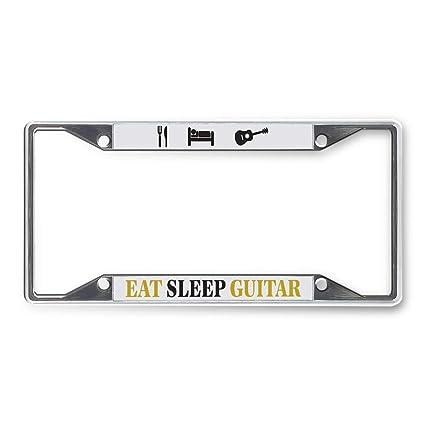 Eat Sleep Guitar Chrome Metal License Plate Frame