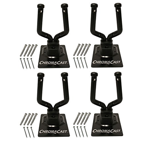 ChromaCast CC-GWALL-4PK Metal Padded Guitar/Ukulele Wall Hanger, Pack of 4 (Hangers Steel Sawtooth)