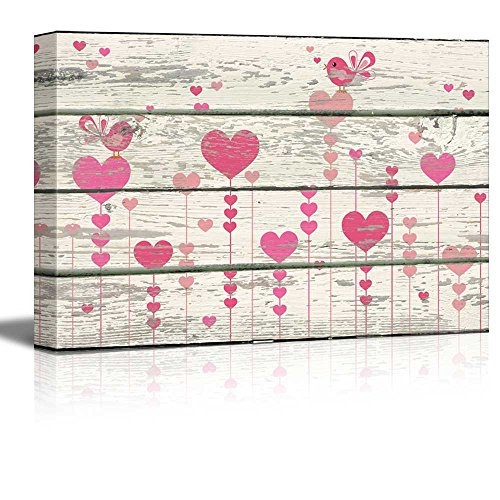 Cartoon Pink Hearts and Birds Singing Artwork Rustic