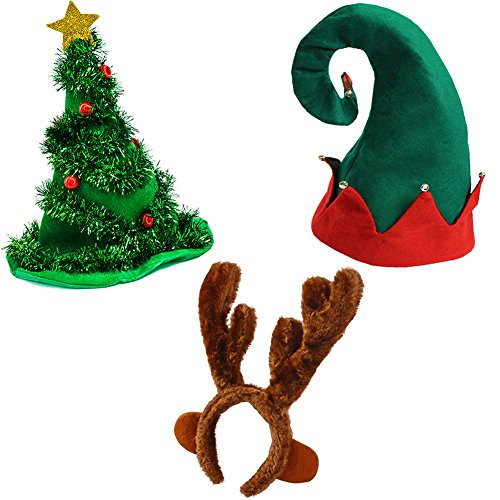 Funny Party Hats Felt Elf Christmas Hat Light Up Christmas Tree Hat and Reindeer Antlers Headband
