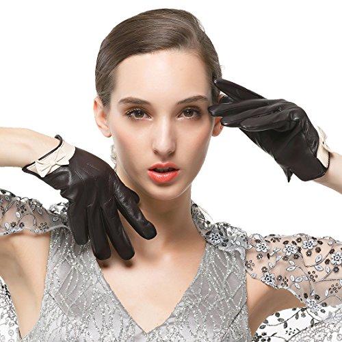 メッセージ断線逃すNAPPAGLO レディース 女性用 レザー 羊革 可愛い 蝶結び スマホ対応 手作り パーティー グローブ 手袋 ロングフリース ライニング