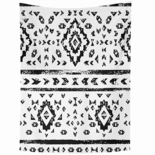 Ahawoso Tapestry 50x60 Inch Tribal Geo Black White Aged Geometric Aztec Abstract Pattern Shape Diamond Border Mexican Graphic Wall Hanging Home Decor for Living Room Bedroom Dorm