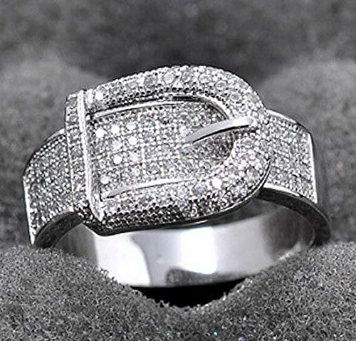 Crookston 925 Silver White Black Topaz Ring Wedding Bridal Women Men Jewelry Size 6-10 | Model RNG - 15255 | 7