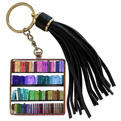 3dRose InspirationzStore Rainbows - Colorful bookshelf books - Rainbow bookshelves - reading book geek library nerd - librarian author - Tassel Key Chain (tkc_112957_1)
