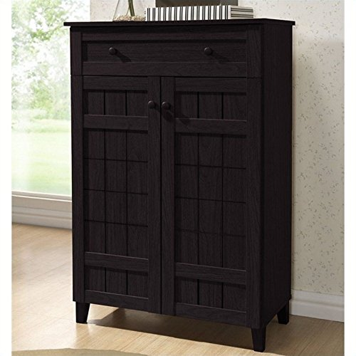 Baxton Studio Glidden Wood Modern Shoe Cabinet, Tall, Dark Brown by Baxton Studio