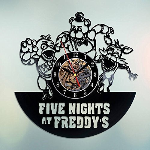 Five Nights at Freddy's Media Franchise Art Decor Vinyl Record Wall Clock - Gift idea for Girls Boys Parents Sister and Brother - Home & Office Bedroom Nursery Room Wall Decor - Customize Your Clock