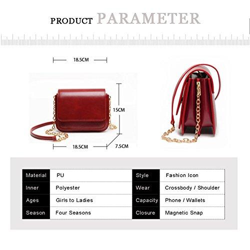 Yoome bolso de la aleta retro color puro callejón estilo elegante zigzag cadena plegable pequeños bolsos para las mujeres - marrón Gris