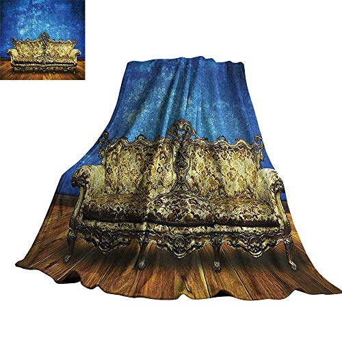 - Victorian Decor Home Throw Blanket Victorian Sofa in Retro Room Interior Wooden Floor Timber Panel Curve Nobility Aged 36