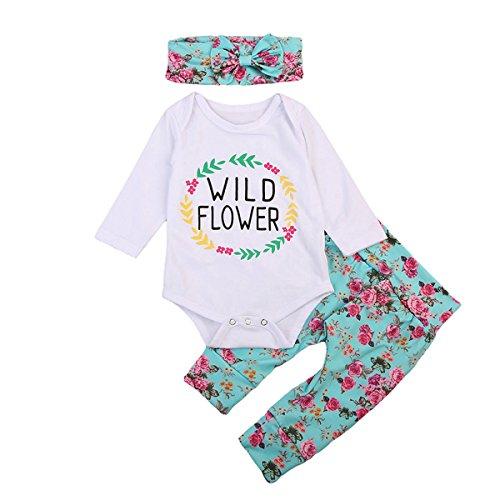 Set Cotton Legging Floral (VISGOGO 3PCS Infant Baby Girls Top Romper Floral Leggings Pants Headband Outfits Clothes Set (0-3 Months))