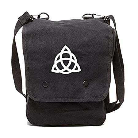 Grab A Smile Triquetra Pagan Wiccan Canvas Crossbody Travel Map Bag Case Black /& White
