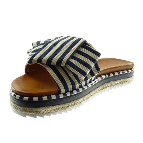 Angkorly Damen Schuhe Sandalen Mule - Slip-On - Plateauschuhe - Knoten - Linien - Bicolor Flache Ferse 3.5 cm Dunkelblau