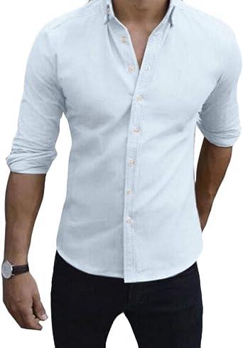 dahuo - Camisa Casual - Manga Larga - para Hombre Blanco ...