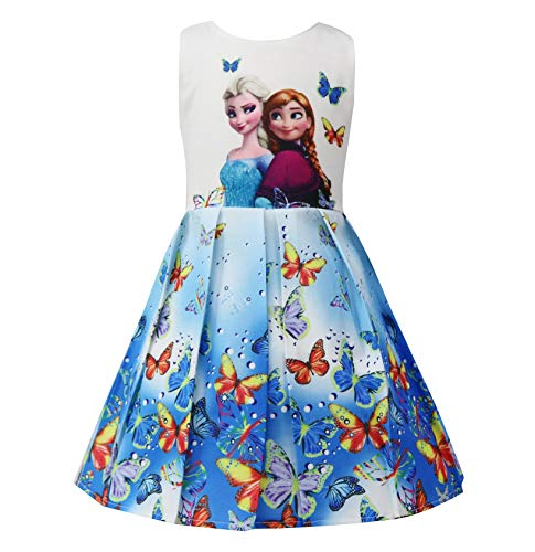 Girls Sleeveless Ice Snow World Party Dresses Blue 4-5Y ()