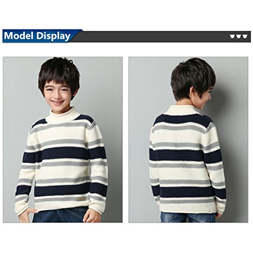 MiMiXiong MMX Boys Colorful Striped Winter Pullovers Sweaters Autumn Casual Children Knitwear Outerwear (3T, White) by MiMiXiong (Image #6)