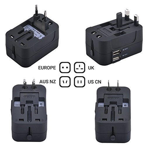 Universal Travel Adapter with Dual USB Ports by Ubittek: Worldwide All-in-One Lightweight Converter for US / EU / UK / AU and More