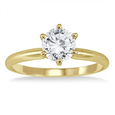 Ags Certified 1 Carat Diamond Solitaire Ring In 14k Yellow Gold J K Color I2