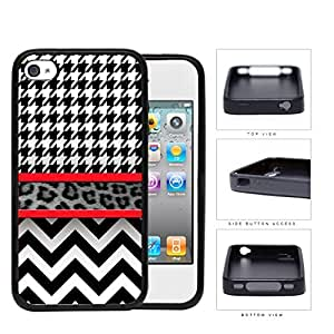 Black And White Hounsdtooth Animal Print Chevron Rubber Silicone TPU Cell Phone Case Apple iPhone 4 4s