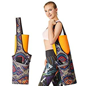 PERFEKT Yoga Mat Bag Carrier with Free Yoga Fitness Band, Large Size Pocket and Zipper Pocket, Gym Bag, Fit Most Size…