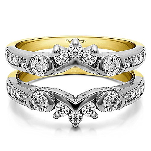 TwoBirch 1 ct. Cubic Zirconia Half Halo Classic Style Ring Guard in Sterling Silver (1 ct. twt.) by TwoBirch (Image #5)