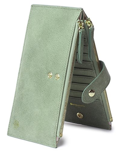 Borgasets RFID Blocking Women's Genuine Leather Wallet Credit Card Holder Zipper Purse (Nubuck Green) by Borgasets