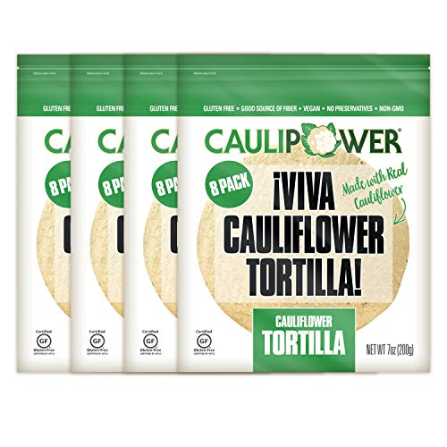 CAULIPOWER Original Cauliflower Tortillas | Certified Gluten-free | Non-GMO | Frozen | 32 Pack