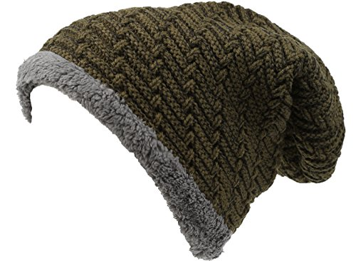 (Sakkas 16142 - Veloce Tall Long Heathered Faux Fur Shearling Lined Unisex Beanie Hat - Green - OS)