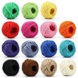 HULISEN Jute Twine - 15 Roll, 1230 Feet (410 Yards) 2mm 3 ply Twine String for Artworks, DIY Crafts, Gift Wrapping Twine, Picture Display and Embellishments