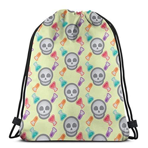 Halloween Retro-Pop Skulls And Potions_7814 3D Print Drawstring Backpack Rucksack Shoulder Bags Gym Bag for Adult -