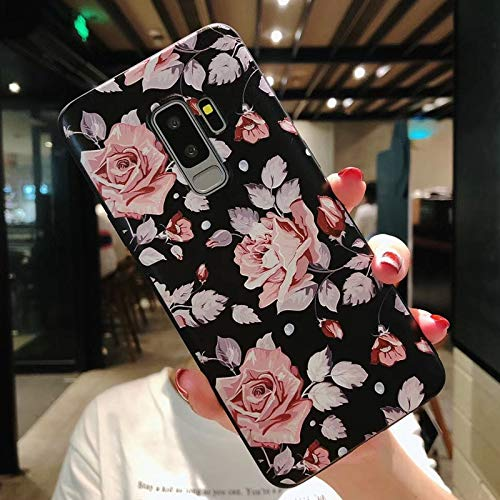 Maxlight Flower Phone Case for Samsung Galaxy S9 S8 Plus Matte Rose Floral Leaves Back Cover for Samsung Note 9 Soft TPU Cases (B, for Galaxy S9 Plus) (Samsung Galaxy S2 Plus Back Cover)