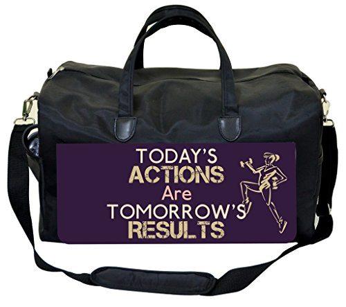 Today's Actions Are Tomorrow's Results-in Purple Gym Bag by Jacks Outlet