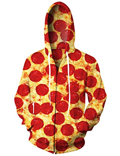 Uideazone Juniors Boys Girls All Over Printed Pizza Zip Up Jacket Coat Funny Graphic Pullover Hoodie Sweatshirts