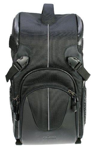 Dörr YUMA Doppelsling Rucksack für mittel große Fotoausrüstung mit Profi DSLR Kamera, Telezoom und Zubehör schwarz/silber